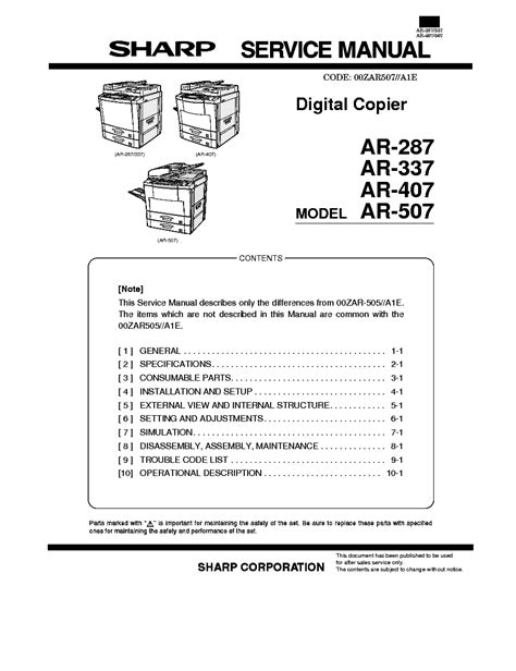 Sharp Ar 287 Ar 337 Digital Copier Circuit Diagram Manual (ePUB/PDF