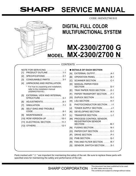 Sharp Mx2300n Manual (ePUB/PDF) Free