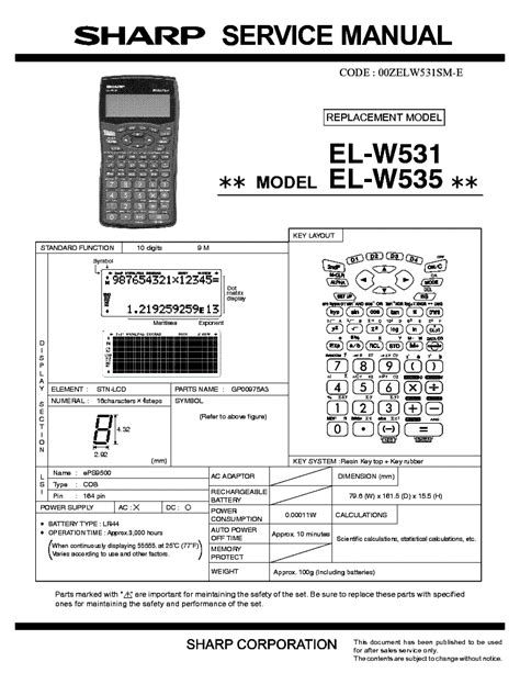 sharp w531 manual