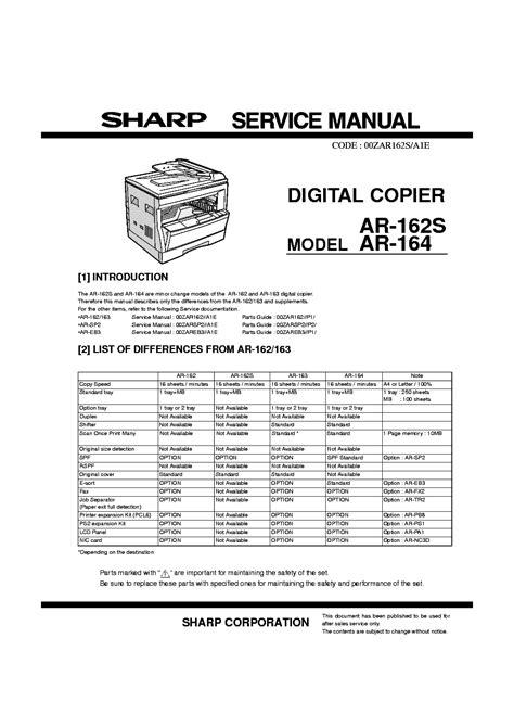 Sharp Ar 162s 164 Copier Service Manual - read.link.read.ping ...