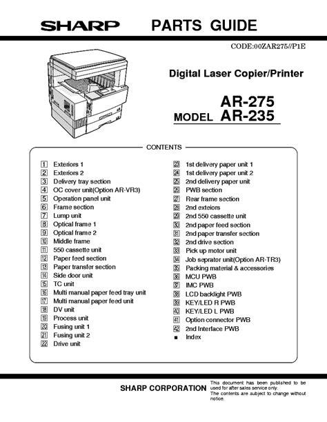 Book] Sharp Ar 275 Digital Laser Copier Printer Parts List Manual ...