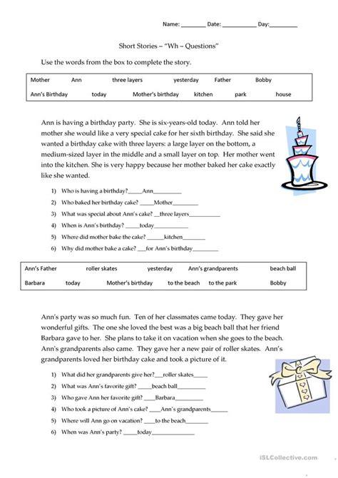 Short Story Wh Question Practice (ePUB/PDF)