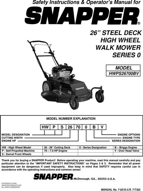 Snapper Hwps26700bv Manual (ePUB/PDF) Free