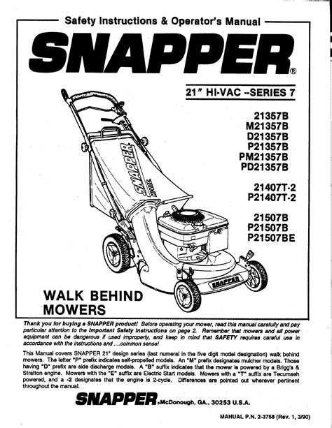 Snapper Riding Mower Manual (ePUB/PDF)