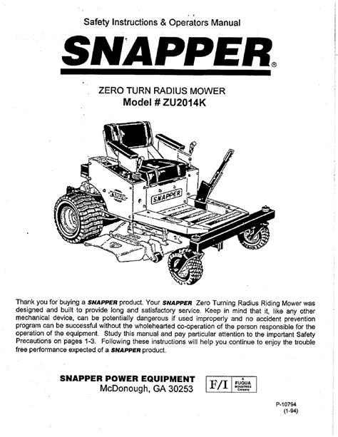 Snapper Zu2014k Manual (ePUB/PDF) Free