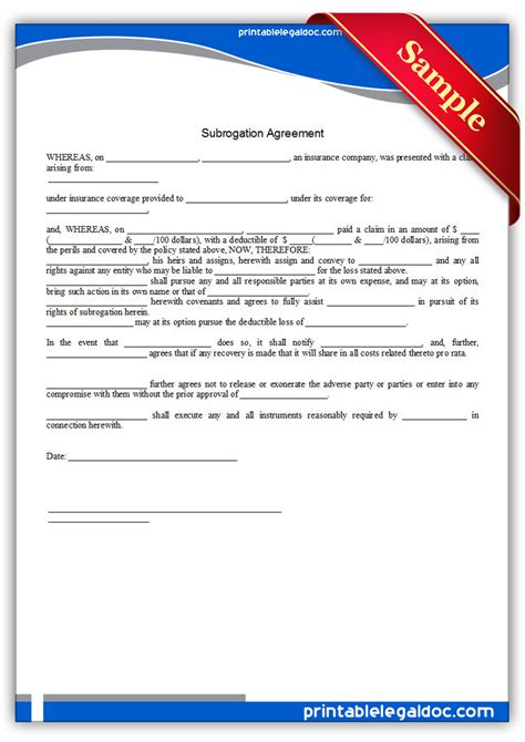 Subrogation Agreement Business Insurance Legal Forms Book