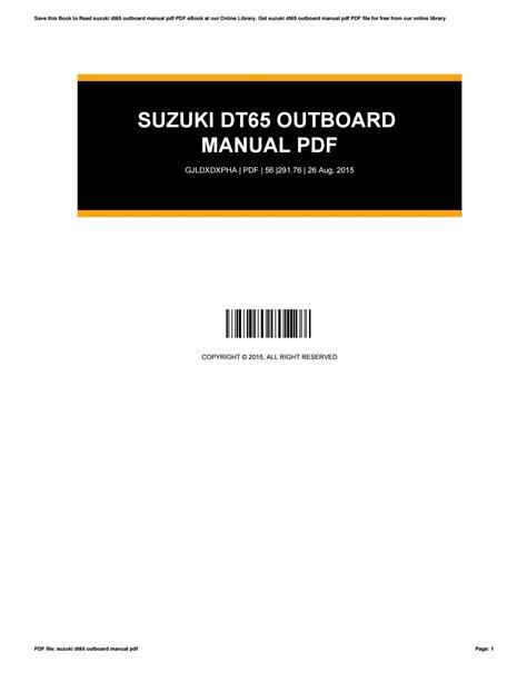 Suzuki Dt65 Manual (ePUB/PDF)