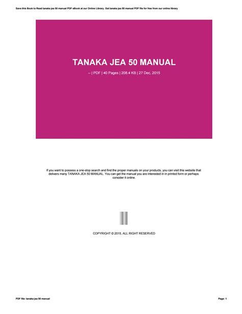 Tanaka Jea 50 Owners Manual (ePUB/PDF) Free