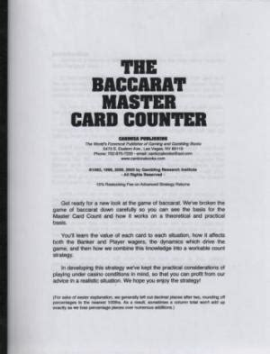 The Baccarat Master Card Counter