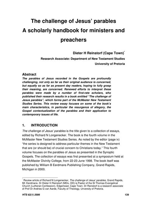 The Challenge Of Jesus Parables