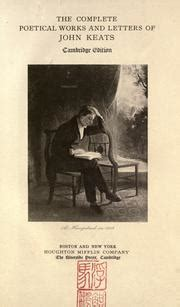 The Complete Poetical Works And Letters Of John Keats English Edition