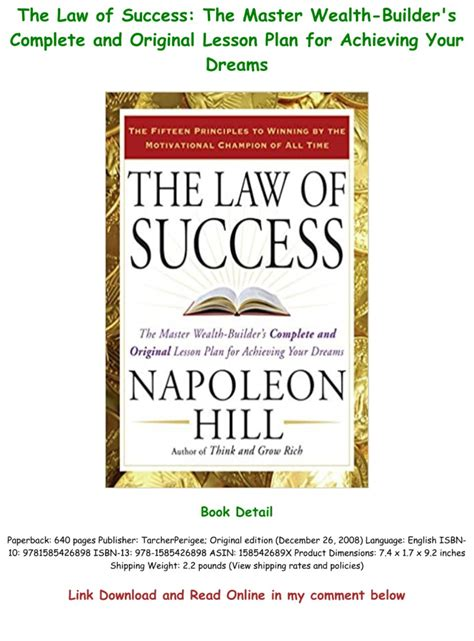 The Law Of Success The Master WealthBuilders Complete And Original Lesson Plan For Achieving Your Dreams