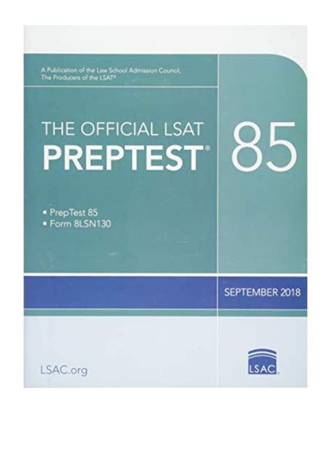 The Official LSAT PrepTest 85 Sept 2018 LSAT