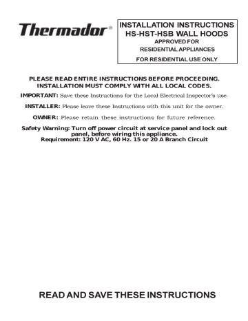 Thermador Range Hood Manual (ePUB/PDF) Free