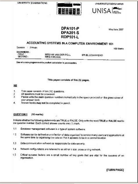 Unisa Previous Exam Papers (ePUB/PDF) Free