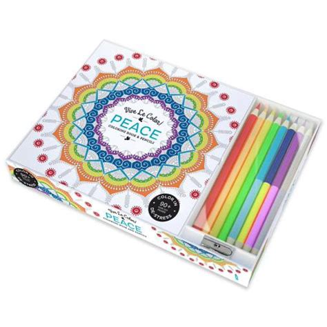 Vive Le Color Peace Adult Coloring Book And Pencils Color Therapy Kit