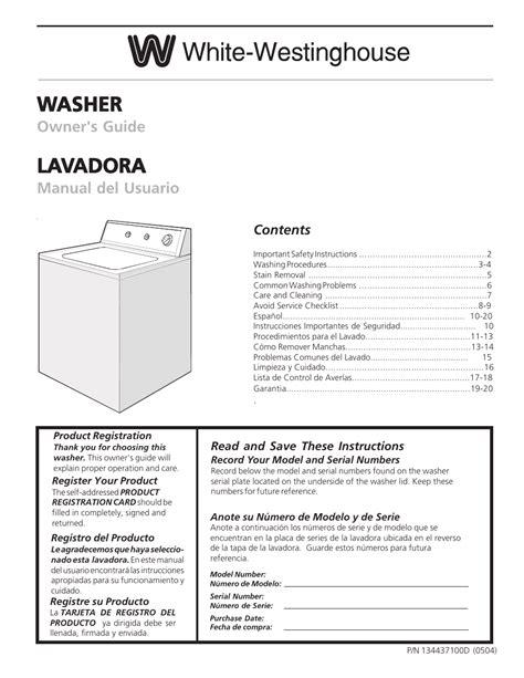White Westinghouse Washer Repair Manual (ePUB/PDF) Free