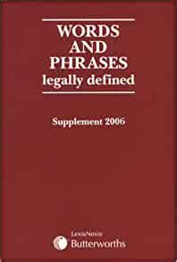 Words And Phrases Legally Defined 2006 Supplement
