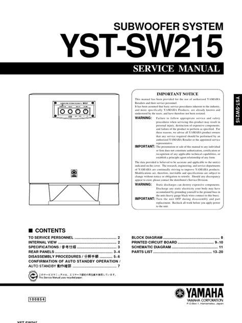 Yamaha Yst Sw215 Service Manual (ePUB/PDF)