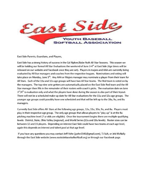 Download Youth Baseball Tournament Welcome Letter Template From