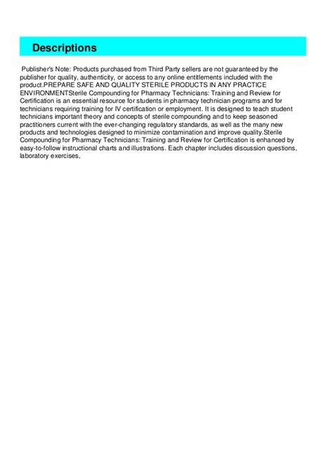 Sterile Compounding For Pharm Techsa Text And Review For Certification