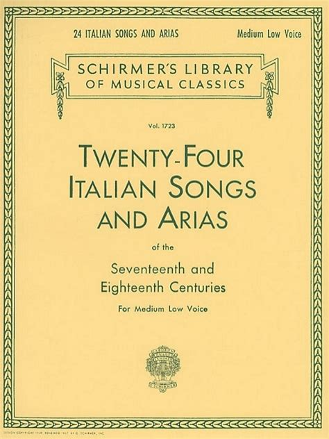 Twenty Four Italian Songs And Arias Of The 17th And 18th Centuries Medium High Voice Book Cd Partitions